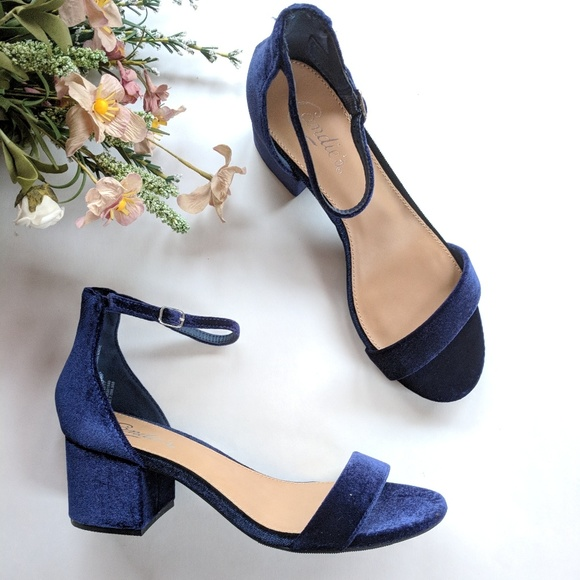 c4c407d3bdc2  Candies  blue velvet block heel sandals